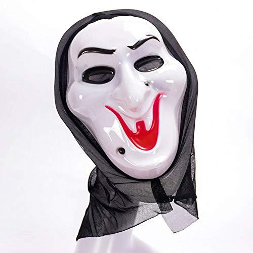 QWW Grimasse Maske, Halloween Horror Lange Perücke Haar Gruselige Scary Kostüm Kopfbedeckung,Witch