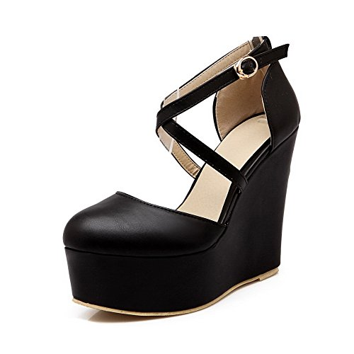AgooLar Femme Rond à Talon Haut Matière Souple Couleur Unie Boucle Chaussures Légeres Noir