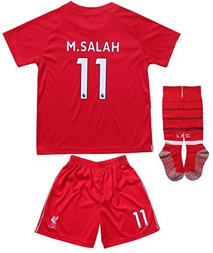 2018/2019 Liverpool #11 Salah Heim Kinder Fußball Trikot Hose und Socken (24 (6-7 Jahre))