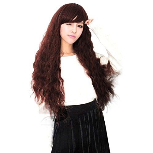 chunyang Schönheit Mode Langes Lockiges Welliges Haar Voll Perücken Cosplay Party (Wein Themen Kostüme)