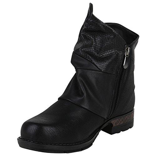 Boot Paradise Signore Stivali Da Motociclista Pelle Look Stivaletti Caldi Stivali Imbottiti Stivaletti Tacco Inverno Scarpe Invernali Stivali Cerniera Serpente Stampa Flandell Nero Lassista