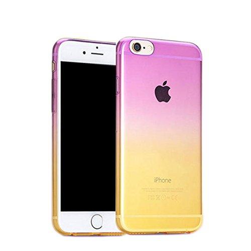Apple iPhone 6S plus (5.5 Zoll) Hülle, koala group/ Einfache Gradienten dünnen TPU Schutzmaßnahmen weichen HülleSchlank war dünn durchscheinend Hülle-----Himmel blau und gelb Purple and yellow