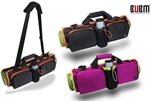 BUBM Taille Rouleau Lot, s'adapte à la plupart des tapis de yoga pour Yoga ou pilates, grandes poches à Transporter d'autres accessoires: bouteille d'eau, Serviette, et sangles, Accessoires personnels, intérieure zippée Vêtements compartment- Magenta