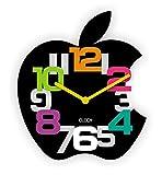 Minuteur pilotée design 3D horloge murale radiocontrolée décoration murale pour chambre d'enfant en forme de pomme, Plastique, noir, 30 x 35 x 2 cm