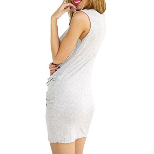 Sasairy Damen Sommer Sexy V-Neck ärmellos Irregulär Stretch Kurze Kleider Retro Cocktailkleid Party Clubwear Grau
