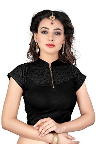 crazy bachat Indian Ethnic Design Stretchable Cotton Lycra Blouse Black Tops Readymade Saree Blouses Short Sleeve Crop Top Design Saree
