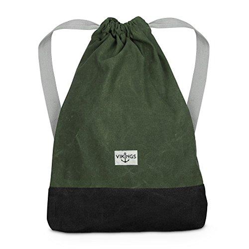 Rucksack Gym Bag Sack Turnbeutel Baumwolle Canvas Tasche Sport Frauen Männer Kinder, Farbe:Grün
