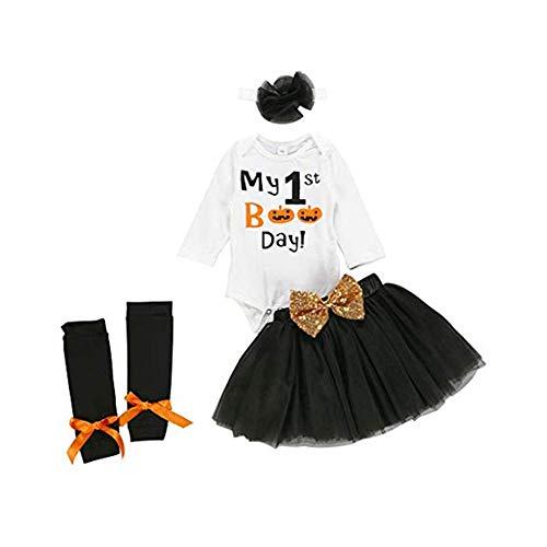 Neugeborenes Baby Mädchen Kleinkind Es ist Mein 1. Halloween 8 Stück Outfits Kürbis Strampler+Tüll Tutu Rock Prinzessin Kleid+Stirnband+Leggings Gamaschen Karneval Party Festliche Kostüm