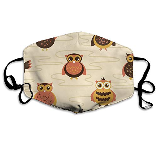 Baby Owls Large Scale Yellow Dust Mask Anti Dust Pollution Mask Washable Polyester Mouth Mask with Adjustable Straps