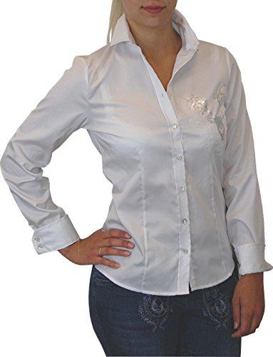 OS Trachten Damen Bluse Mirella mit Druck und Strass, Größen:48;Farben:weiss