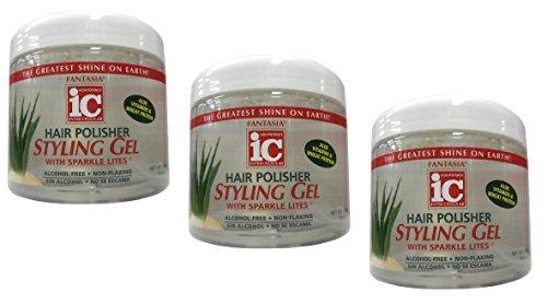 3x IC Fantasia Hair Polisher Aloe Styling Gel with Sparkle Lites 454g (insgesamt - 1362g) - Fantasia Polisher Gel