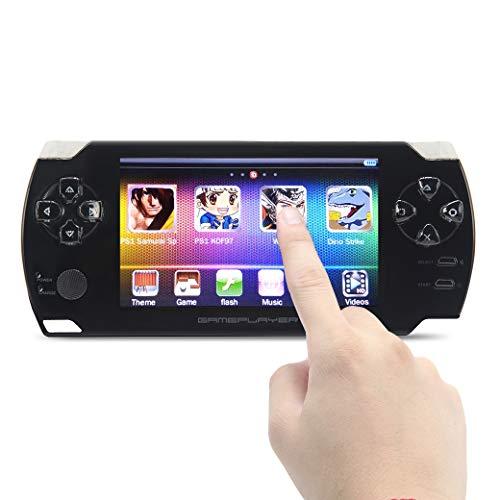 JXD 4.3 Zoll Touchscreen Handheld Video Spielkonsole 8GB eingebaute in 1200 Spiele für PS1/Arcad/Neogeo/Cps/Flash/Gba/FC/SMD/SFC MP3/4 DV/DC wiederaufladbarer Lithium-Akku(weiß) (Video-spiel-kalender)
