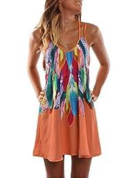 Vestido de Playa de Verano para Mujer 2018 Mini Vestido Gasa Impresa Pluma de Boho Vestido