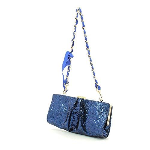 Pochette borsa donna / woman SARA LOPEZ con decorazioni a rilievo bo16315 Blu
