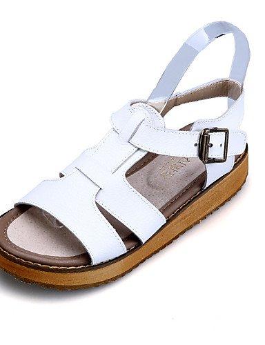 WSS 2016 Chaussures Femme - Habillé / Décontracté - Noir / Blanc / Argent - Talon Plat - Confort / A Bride Arrière / Bout Ouvert - Sandales - Cuir silver-us9.5-10 / eu41 / uk7.5-8 / cn42