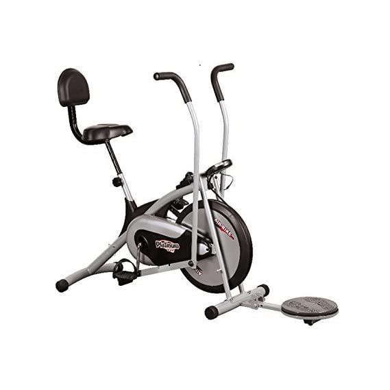 Healthex Exercise Cycle for Weight Loss at Home with Back Support || Air Bike Platinum DX with Back & Twister | Moving Handles for Home Use