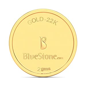 BlueStone BIS Hallmarked 2 grams 22k (916) Yellow Gold Precious Coin