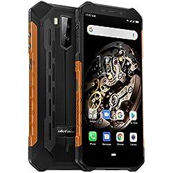 Telephone Portable Incassable Ulefone Armor X5 (2019) Android 9.0 Octa-Core, Écran 5.5 Pouces HD+, 32Go + 3Go, 5000mAh, Double SIM Nano Face ID Smartphone Pas Cher Mode sous-Marine et Gant (Orange)