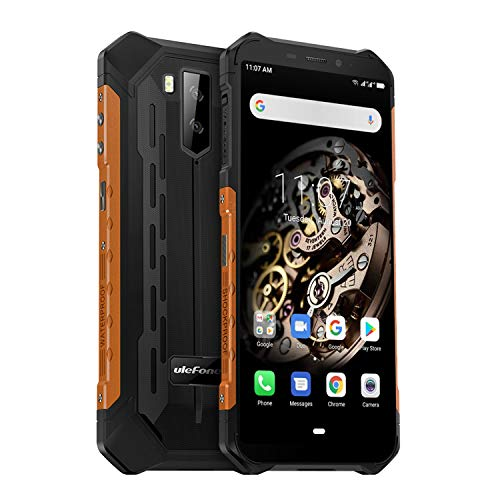 Ulefone Armor X5 4G Outdoor Handy 32GB Speicher 3GB RAM, 5,5 Zoll, 5000mAh Akku, 13MP+ 5MP Kamera, Android 9, IP68 Smartphone Wasserdicht Stoßfest Staubdicht, NFC Kompass Global LTE Version - Orange