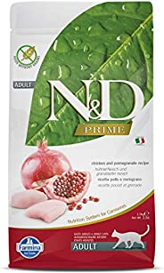 FARMINA N&D Prime Dry Cat Food, Adult, Grain-Free, 1.5-kg, Chicken and Pomegra