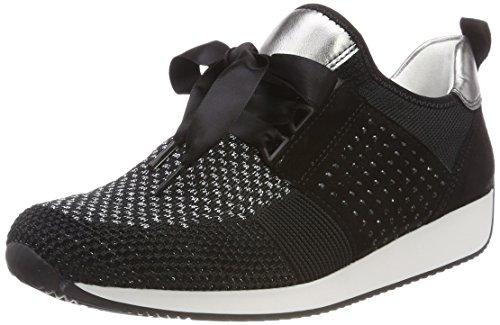 ARA Damen LISSABON Sneaker, Silber, Schwarz/Titan 07, 37 EU