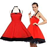 Rot Gr.M Rockabilly Vintage-Swing-Partei-Cocktail kleid rock`n roll Rockabilly Kleider Abendkleid Cocktailkleid