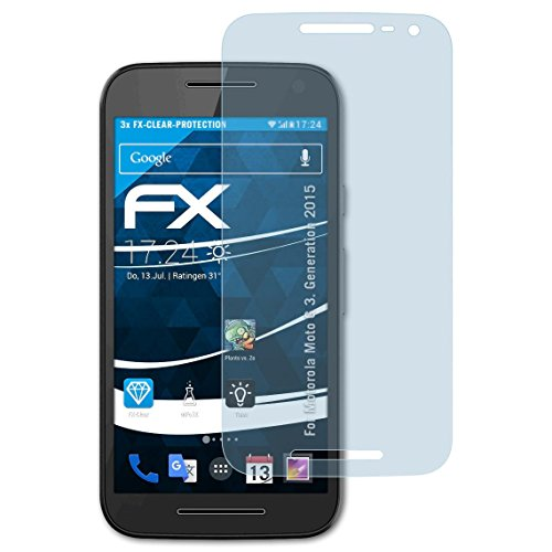 atFoliX 4050512156371CLEAR SCREEN PROTECTOR Moto G (3Gen. 2015) 3pc (S) Screen Protector-Screen Protectors (CLEAR SCREEN PROTECTOR, Motorola, Moto G (3Gen. 2015), scratch-resistant, transparent, 3Pc (S)) Gen Screen Protector
