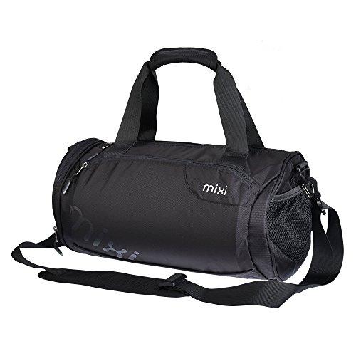 NEU! Mixi Trendsetter Sporttasche / Carry On Sport-Reisetasche mit Schulterriemen , Reißverschlussfächer (Tuxedo Schwarz, 18