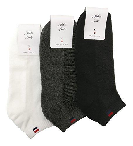 Navy Sport Men's Solid Ankle Length Socks - Pack of 3 - NS2_Black/White
