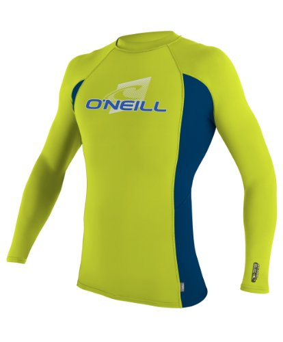 O 'Neill Neoprenanzug UV Sun Protection Herren Skins Long Sleeve Crew Rashguard, Herren, Lime/DeepSea (Neoprenanzüge Guard Rash Skins Crew)