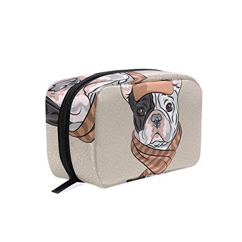 tizorax Cartoon Hipster Hund Französische Bulldogge Rasse Praktische Kosmetik Tasche Kupplung Make-up-Tasche Organizer Reisetasche