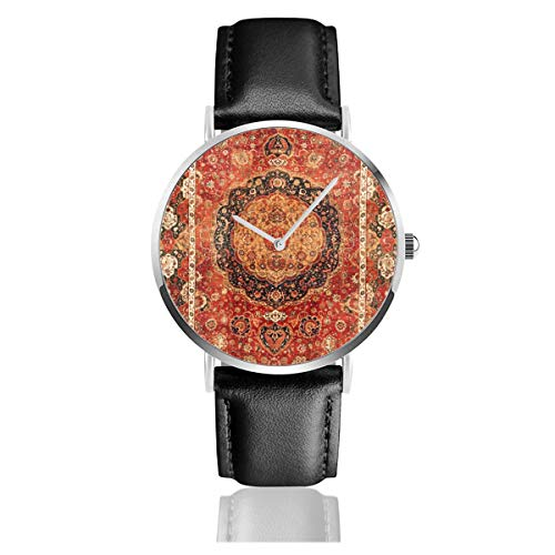 Seley th Century Armbanduhr, antiker persischer Teppich aus Edelstahl, klassisches Lederarmband -