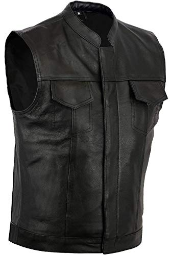 Australian Bikers Gear Gilet in pelle smanicato per moto stile SOA Sons Of Anarchy (L)