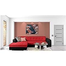 JUSTyou Conforti Sofá esquinero chaise longue función de Cama Sofá-Cama Piel sintética Tejido estructural (BxLxH): 165x270x80 cm Negro Rojo Brazo izquierdo
