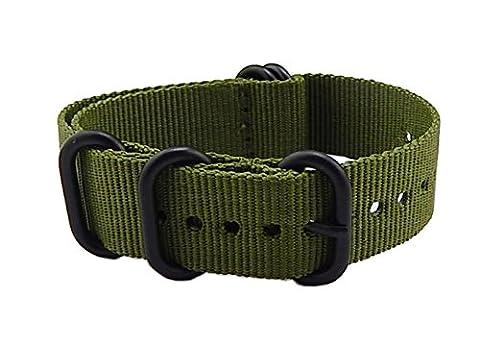 24mm armée verte militaire de luxe en nylon durable NATO de style bracelets de montre des bandes Remplacements pour les hommes