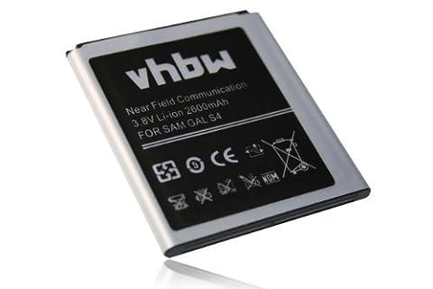 vhbw Li-Ion Akku 2600mAh (3.8V) mit NFC für Handy Smartphone Telefon Samsung Galaxy S4 LTE+ Plus, GT-i9506, S4 VE LTE wie B600, B600BE,