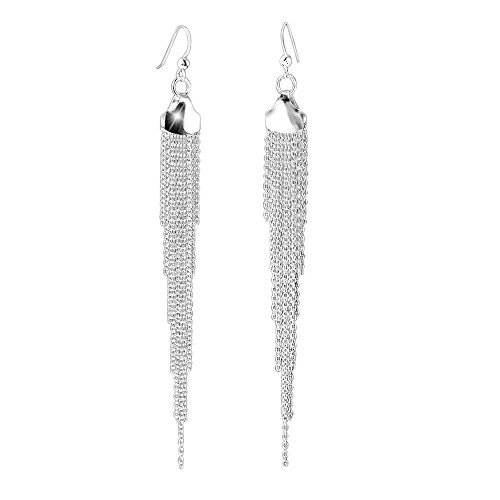 Hängenden Wasserfall (MATERIA 925 Silber Damen Ohrhänger lang hängend Wasserfall 110mm rhodiniert #SO-144)