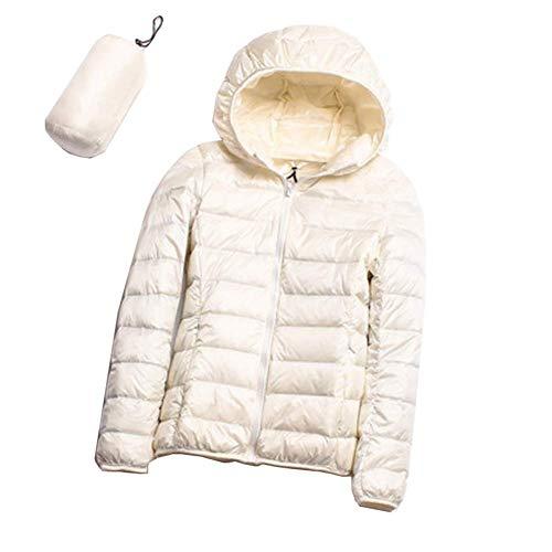 922d4a2a5121ec Comcrib Damen Kurz Daunenjacke mit Kapuzen, 90% weiße Entendaunen  Steppjacke Warm Bequem Ultra Leicht