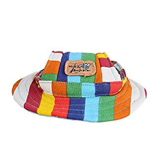 Kung Fu Dog Colorful Stripe Pet Dog Cat Canvas Hat Sun-shading Cap with Ear Holes Only for Small Dogs 7