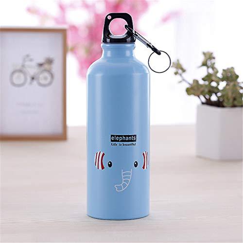 LKYJ Sport Wasserflasche Thermoflasche Kinder Geschenk Tragbare Wasser Flasche Nette Tier Muster Flasche Tasse 500ml Auslaufsichere Flasche Ideale Isolierflasche Elefanten 500ml