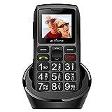 artfone Téléphone Portable Senior Débloqué avec Grandes Touches | Bouton SOS | Radio FM | Haut-Parleur de Boîte | Batterie 1400mAh | Lampe Torche et Station de Charge, Noir