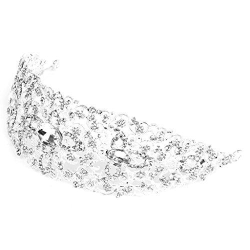 Fiesta De Bodas De Plata Rhinestone Cristal Joyería Nupcial Corona Tiara Peine Del Pelo