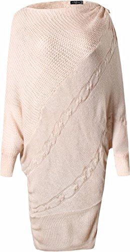 jeansian Donna Moda Autunno Fascino Sciolto Bat a Maniche Lunghe Maglione Sweater WKD301 Apricot