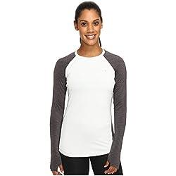 Under Armour de Fitness para Mujer para Hombre UA Coldgear Crew Camiseta de Manga Larga, Mujer, Color Air Force Gray/Carbon Heather, tamaño X-Large