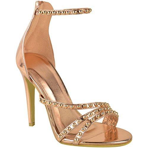 Fashion thirsty heelberry nuovo donna sexy da festa argento tacchi alti a spillo sandali matrimonio diamante taglia - rosa dorato metallizzato, 40