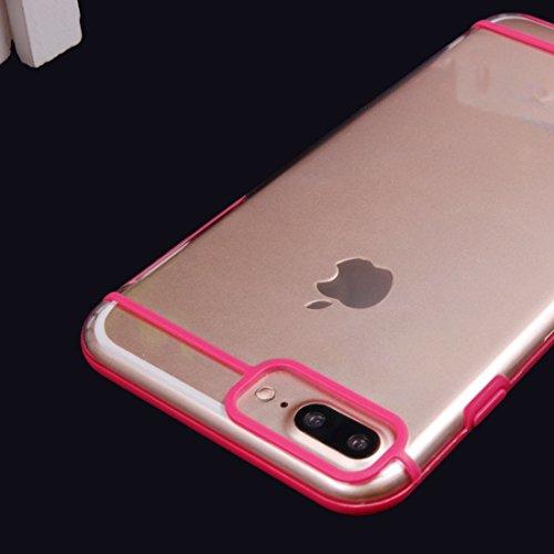 YAN IPhone 7 Plus 2 in 1 Transparente TPU Schutzhülle ( Color : Gold ) Magenta