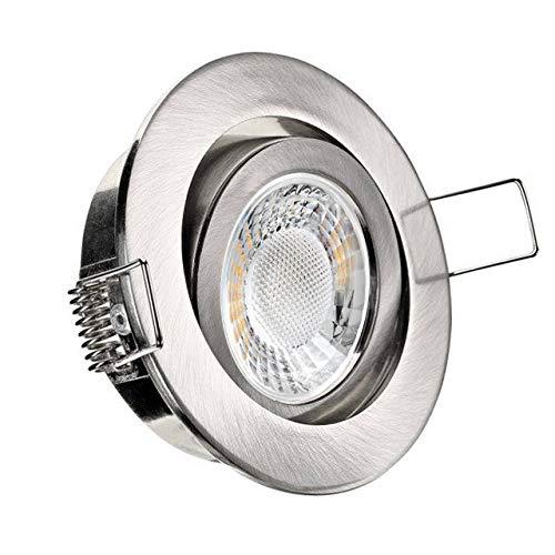 Conceptrun LED Einbaustrahler flach Modell: RD20FL dimmbar warmweiß 230V Einbauleuchte rund schwenkbar Edelstahl-Optik geringe Einbautiefe 25mm Set