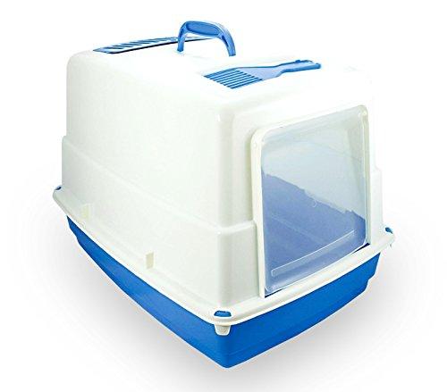 MEDIA WAVE store 10580 Toilette per Gatti Heidi Chiusa Porta Basculante Carboni Attivi 54x39x39cm (Blu)