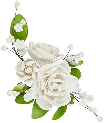 Cake Company Zuckerblumenboquet Rose 1 Stück weiß 1er Pack (1 x 109 g) (Für Dekor Hochzeiten)