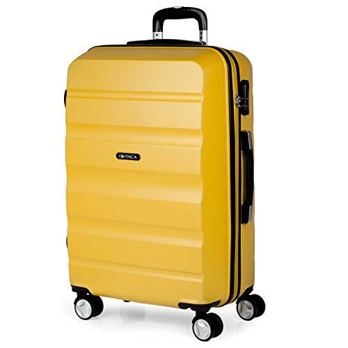 ITACA - Maleta de Viaje Rígida 4 Ruedas Trolley 67 cm Mediana de ABS Lisa. Dura Resistente y Ligera. Candado Bonito Diseño. Estudiante y Profesional. T71660, Color Mostaza